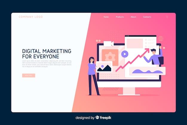 Modello di pagina di destinazione del concetto di marketing Vettore gratuito