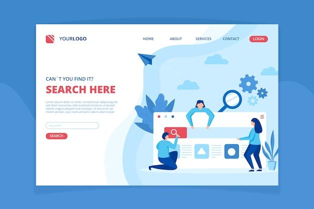 Modello di pagina di destinazione del concetto di ricerca Vettore gratuito