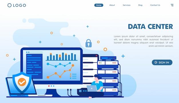 Modello di pagina di destinazione del data center Vettore Premium