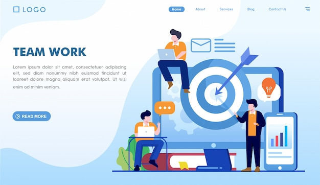 Modello di pagina di destinazione del lavoro di gruppo Vettore Premium