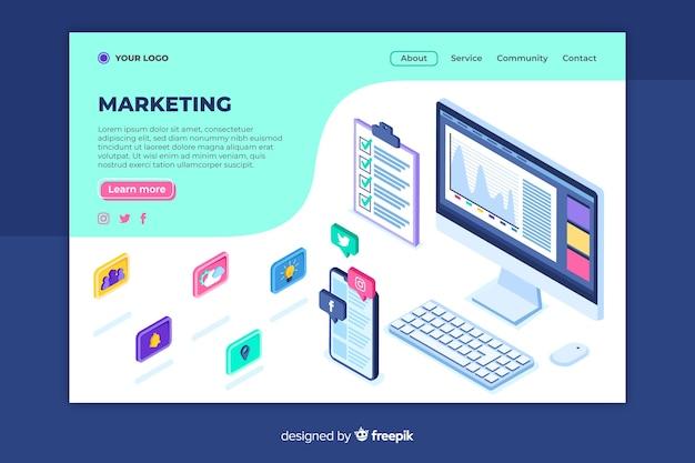 Modello di pagina di destinazione del marketing isometrico Vettore gratuito