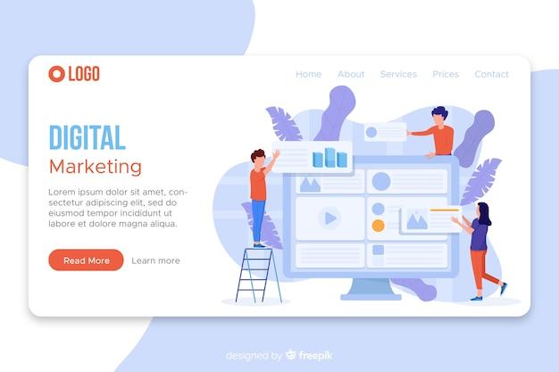 Modello di pagina di destinazione del marketing Vettore gratuito