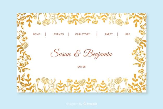 Modello di pagina di destinazione del matrimonio d'oro Vettore gratuito