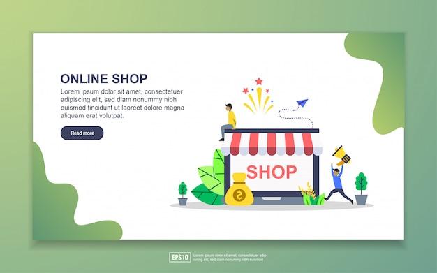 Modello di pagina di destinazione del negozio online. concetto di design moderno piatto di design della pagina web per sito web e sito web mobile Vettore Premium