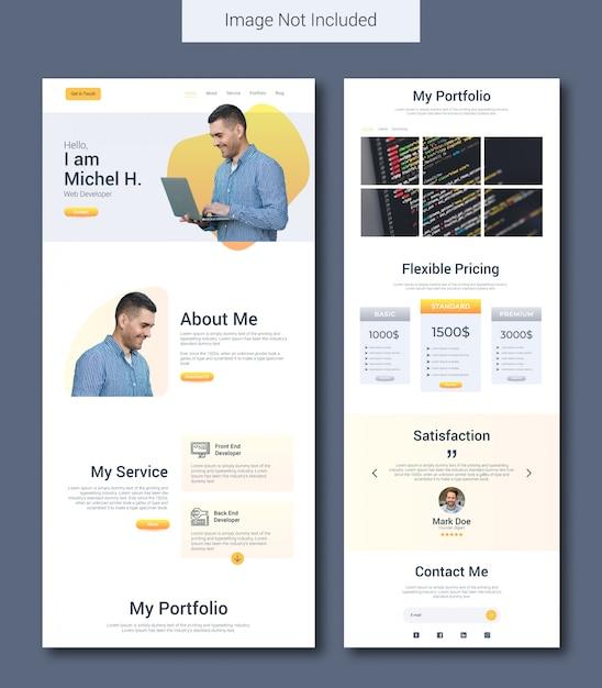 Modello di pagina di destinazione del portfolio personale Vettore Premium