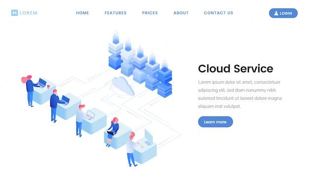 Modello di pagina di destinazione del servizio cloud Vettore Premium