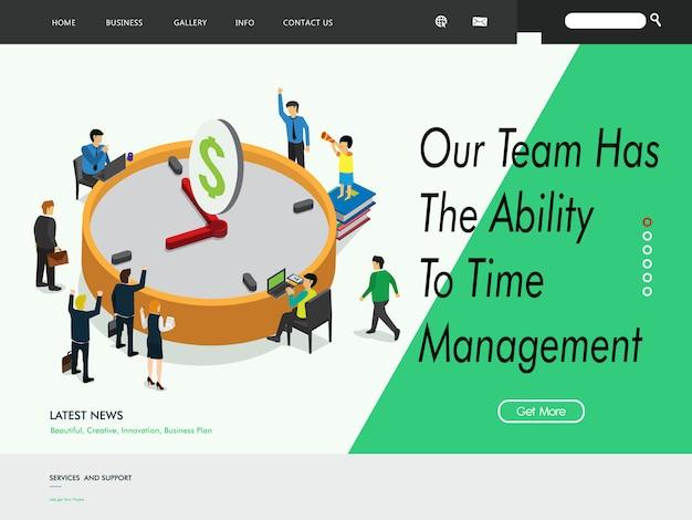 Modello di pagina di destinazione del sito web di gestione aziendale Vettore Premium