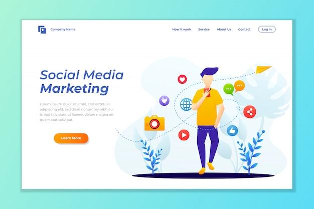 Modello di pagina di destinazione del social media marketing Vettore Premium