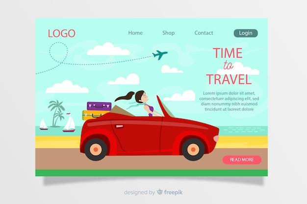 Modello di pagina di destinazione del viaggio disegnato a mano Vettore gratuito