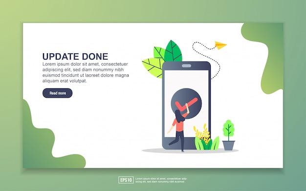 Modello di pagina di destinazione dell'aggiornamento eseguito. concetto di design moderno piatto di design della pagina web per sito web e sito web mobile. Vettore Premium