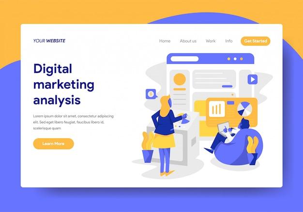 Modello di pagina di destinazione dell'analisi del marketing digitale Vettore Premium