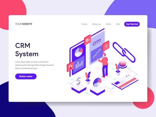 Modello di pagina di destinazione dell'illustrazione del sistema crm Vettore Premium