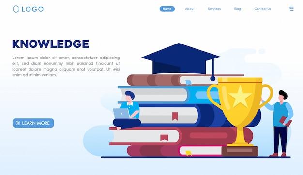 Modello di pagina di destinazione della conoscenza Vettore Premium