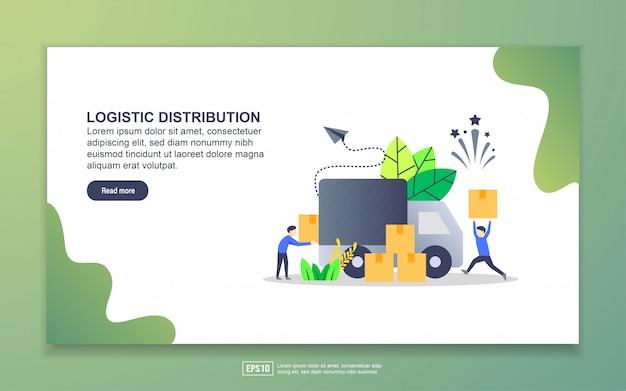 Modello di pagina di destinazione della distribuzione logistica Vettore Premium