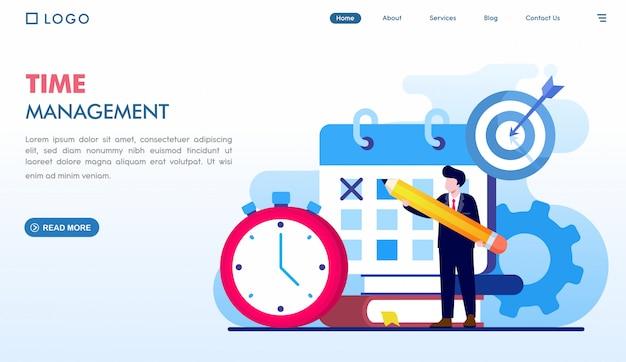 Modello di pagina di destinazione della gestione del tempo Vettore Premium