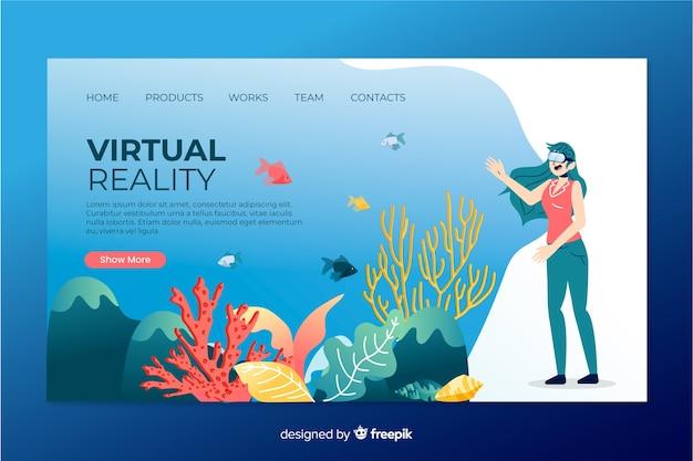 Modello di pagina di destinazione della realtà virtuale Vettore gratuito