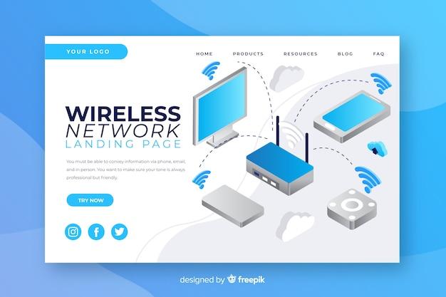 Modello di pagina di destinazione della rete wireless Vettore gratuito