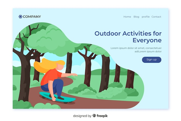 Modello di pagina di destinazione delle attività all'aperto Vettore gratuito