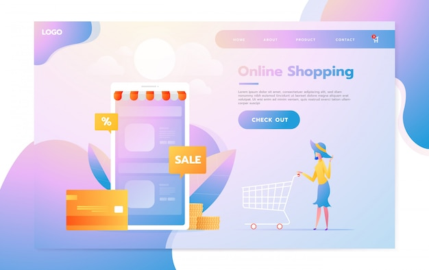 Modello di pagina di destinazione dello shopping online. moderno concetto di design piatto di progettazione di pagine web per sito web e sito web mobile. illustrazione vettoriale Vettore Premium