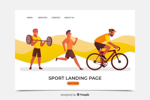 Modello di pagina di destinazione dello sport piatto Vettore gratuito