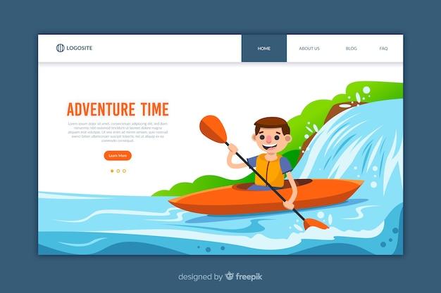 Modello di pagina di destinazione design piatto avventura Vettore gratuito