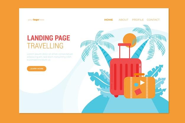 Modello di pagina di destinazione design piatto di viaggio Vettore gratuito