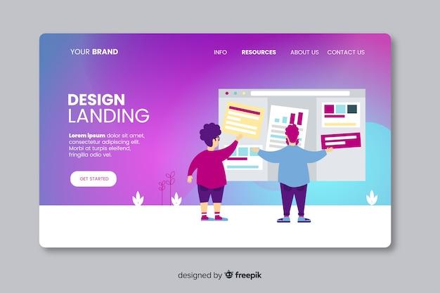 Modello di pagina di destinazione design piatto Vettore gratuito