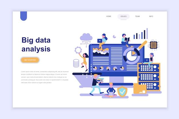 Modello di pagina di destinazione di analisi di big data Vettore Premium