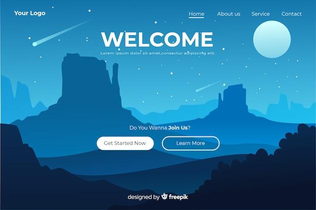 Modello di pagina di destinazione di benvenuto con panorama Vettore gratuito