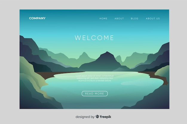 Modello di pagina di destinazione di benvenuto con panorama Vettore Premium