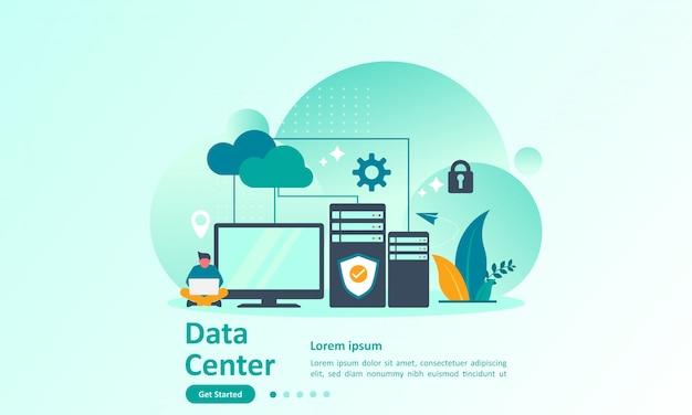 Modello di pagina di destinazione di big data con database cloud Vettore Premium