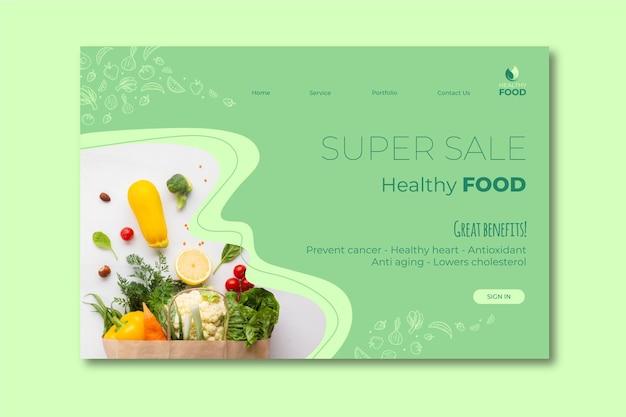 Modello di pagina di destinazione di cibo sano Vettore gratuito