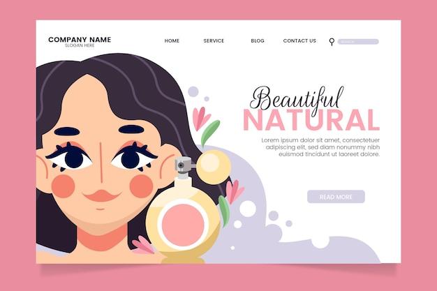 Modello di pagina di destinazione di cosmetici naturali Vettore gratuito