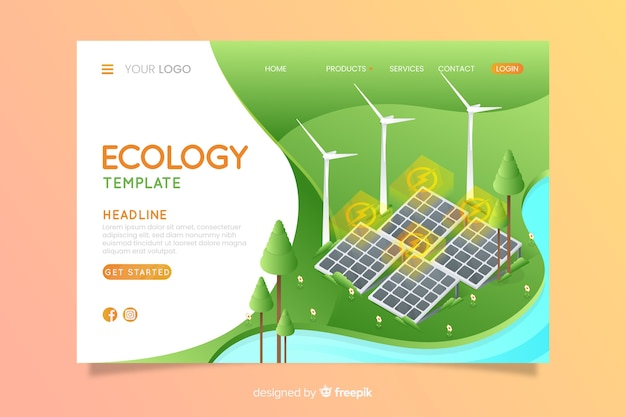 Modello di pagina di destinazione di ecologia isometrica Vettore gratuito