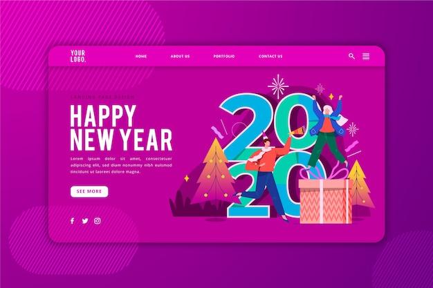 Modello di pagina di destinazione di felice anno nuovo Vettore gratuito