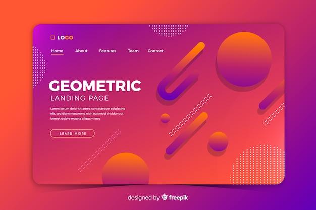 Modello di pagina di destinazione di forme geometriche sfumate colorate Vettore gratuito