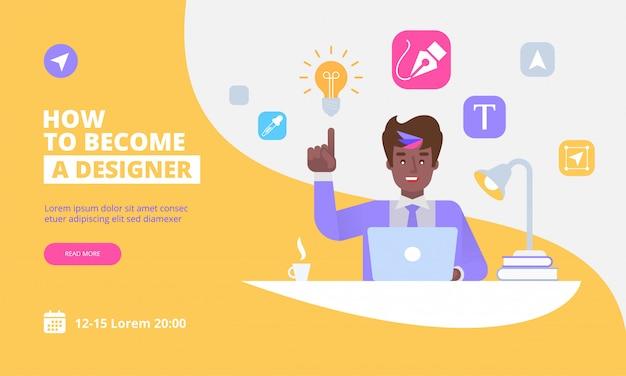 Modello di pagina di destinazione di graphic designer Vettore Premium
