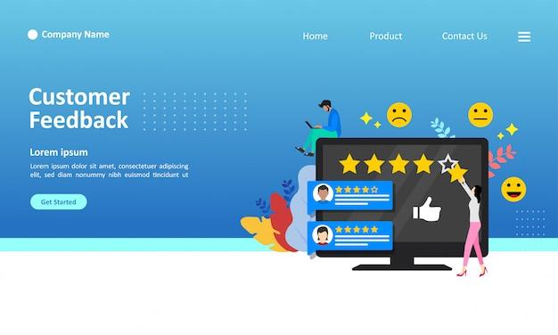 Modello di pagina di destinazione di illustrazione vettoriale di feedback dei clienti Vettore Premium