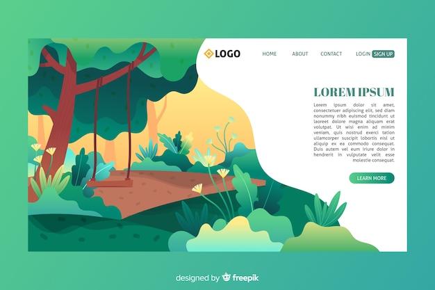 Modello di pagina di destinazione di natura piatta Vettore gratuito