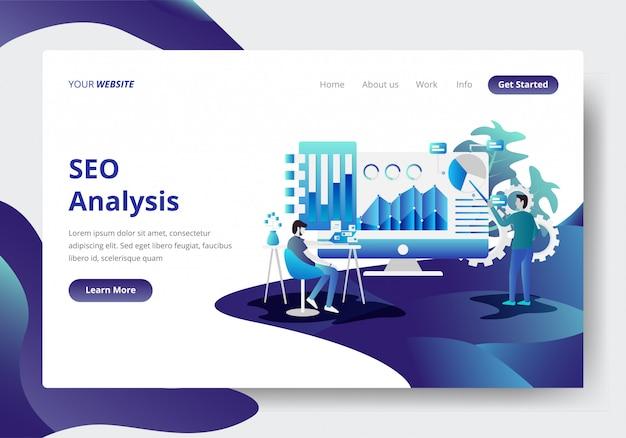 Modello di pagina di destinazione di seo analysis concept Vettore Premium