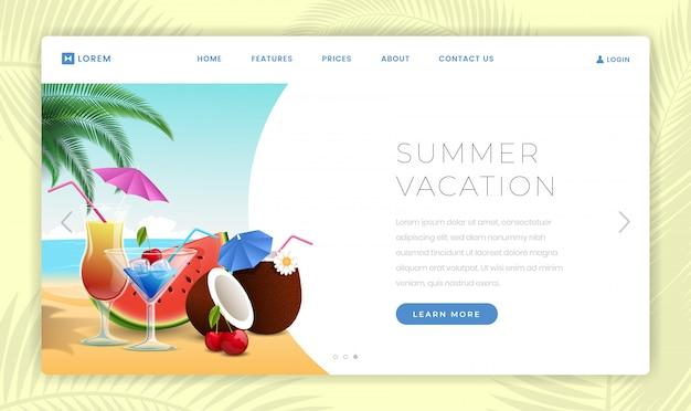 Modello di pagina di destinazione di vacanze estive Vettore Premium