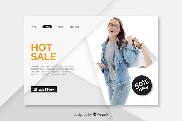 Modello di pagina di destinazione di vendita con foto Vettore gratuito