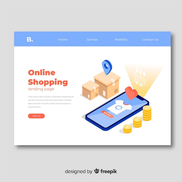 Modello di pagina di destinazione di vendita isometrica Vettore gratuito