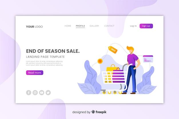 Modello di pagina di destinazione di vendita piatta Vettore gratuito