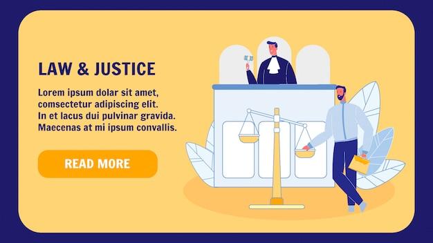 Modello di pagina di destinazione di vettore piatto di legge e giustizia Vettore Premium