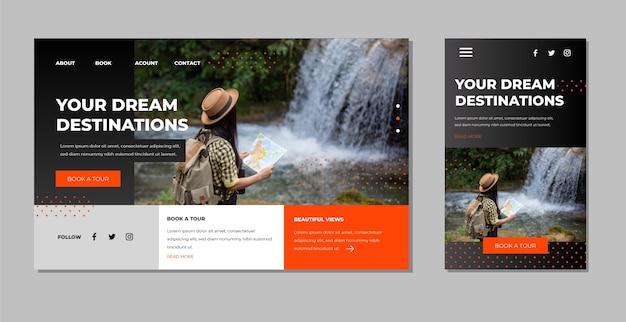 Modello di pagina di destinazione di viaggio con foto Vettore gratuito