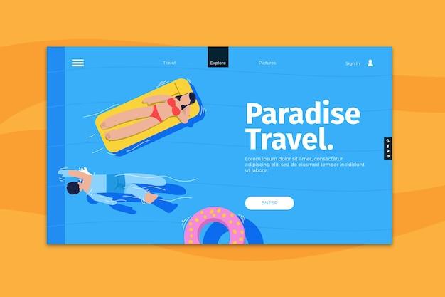 Modello di pagina di destinazione di viaggio Vettore gratuito
