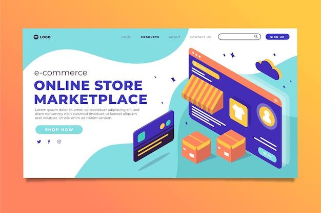 Modello di pagina di destinazione e-commerce isometrico Vettore gratuito