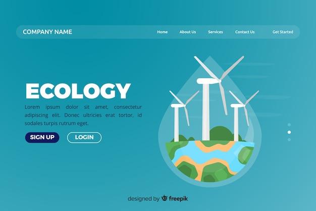 Modello di pagina di destinazione ecologia piatta Vettore gratuito