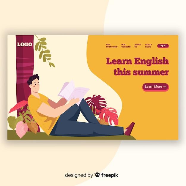 Modello di pagina di destinazione educazione piatta Vettore gratuito